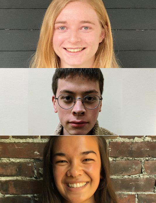Images of the three student recipients of the 2020 Noel J Brown award