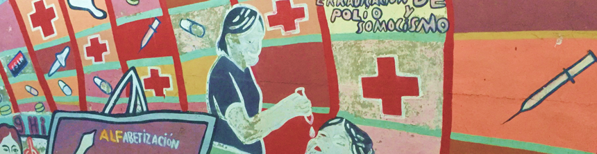 Mural in Nicaragua showing nurse giving polio vaccine to child