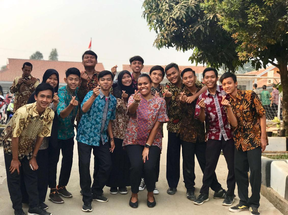 Hope Tucker with group of students in Indonesia