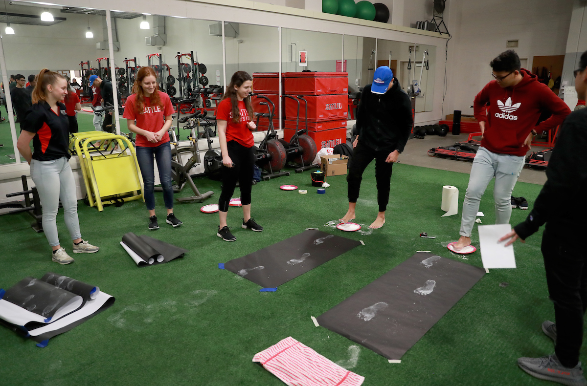 Seattle U and high school students participate in demonstration about gaitat 2019 Kinesiology Biomechanics Fair