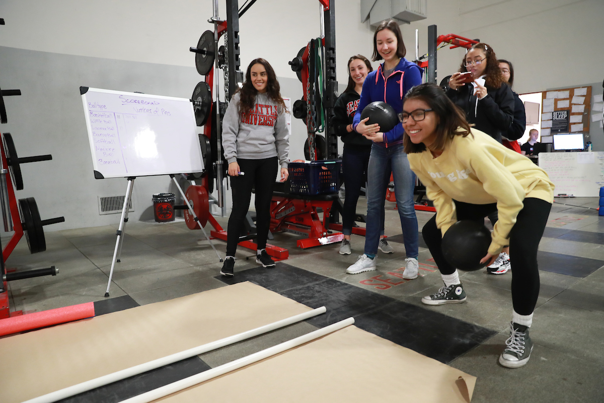 High school students participate in demonstration at 2019 Kinesiology Biomechanics Fair