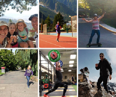 Collection of photos of Kinesiology faculty and staff being physically active