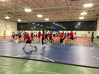 Kinesiology dodgeball playing in tournament