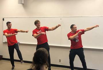 Students performing in biomechanics dance off