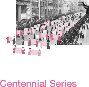 Historical Photo of Women's Suffrage March overlayed with pink graphic
