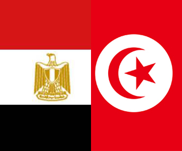 Egyptian and Tunisian flags side by side