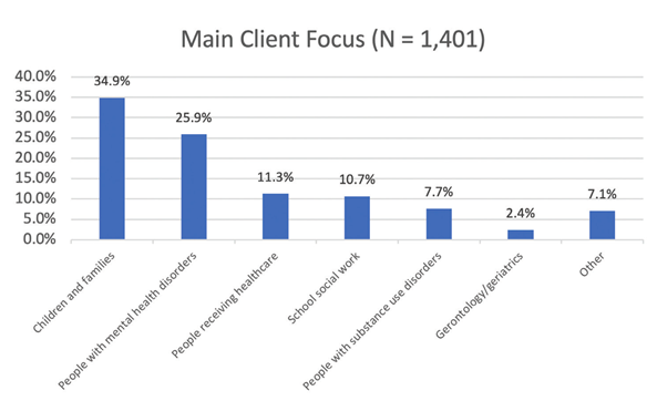 Main client focus statistics from CSWE