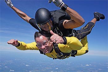Dean David Powers skydiving during ROTC training