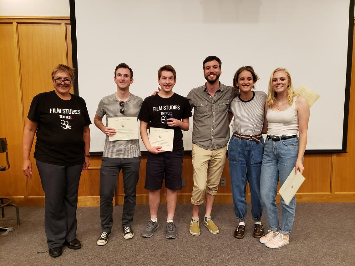 Students receiving Best Social Justice Film award