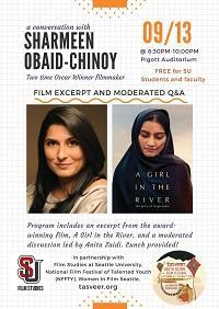 Flier for event with Sharmeen Obaid-Chinoy