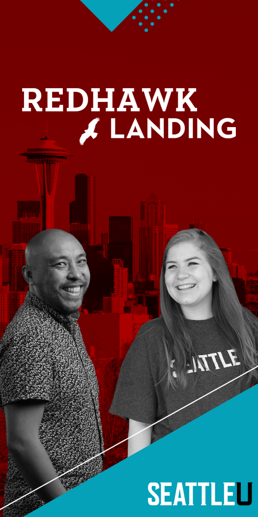 Web banner for Redhawk Landing picturing an alum standing beside a current student