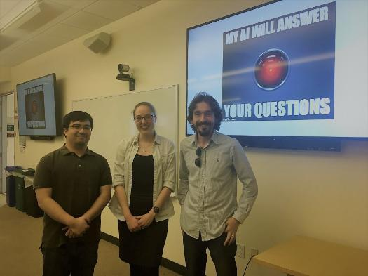 graduate students pose for a photo following their MSCS research presentations