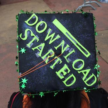 a clever CS student decorated their graduation cap with