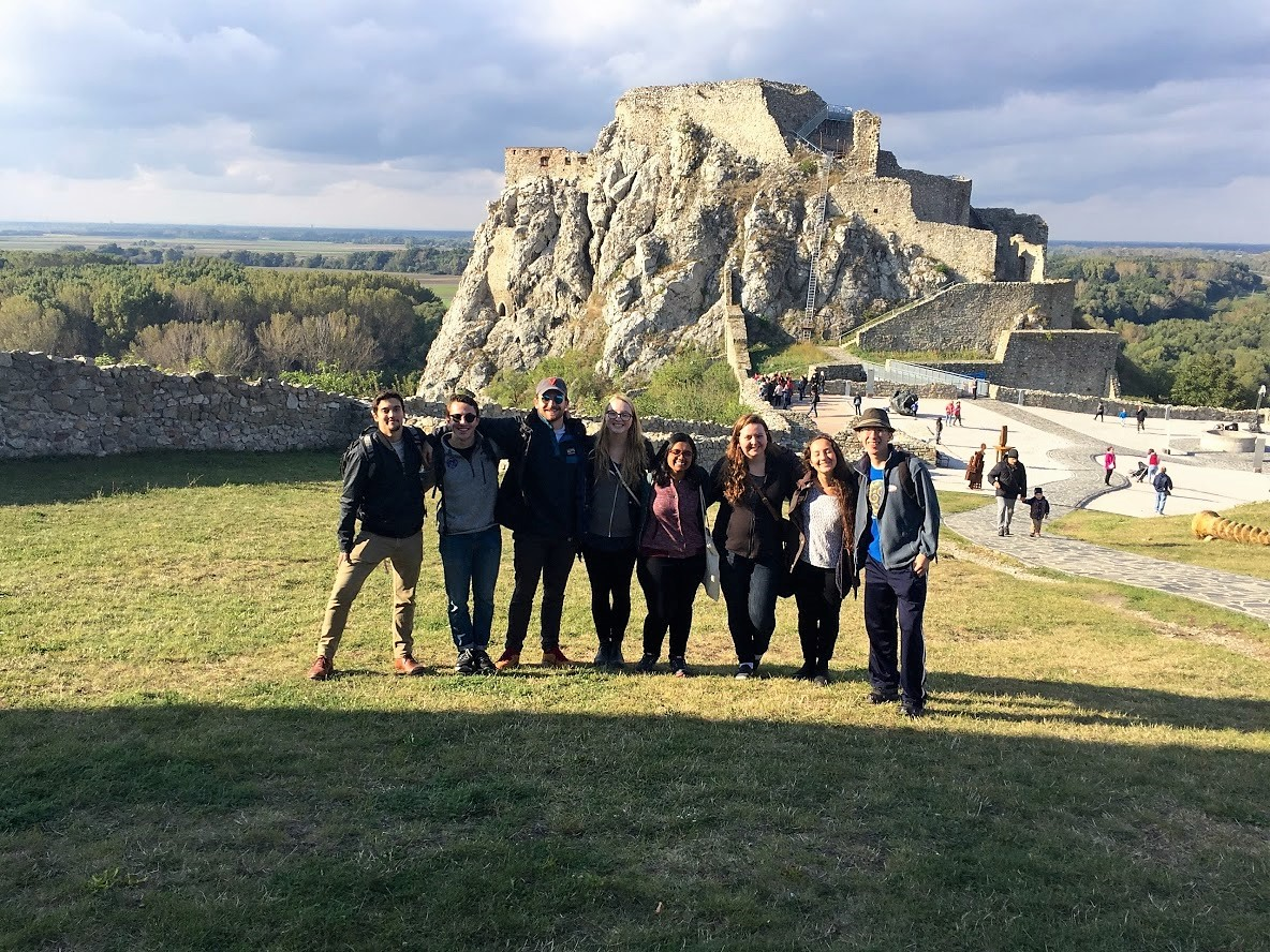 Students studying in Budapest Hungary visit Devin Castle, Slovakia