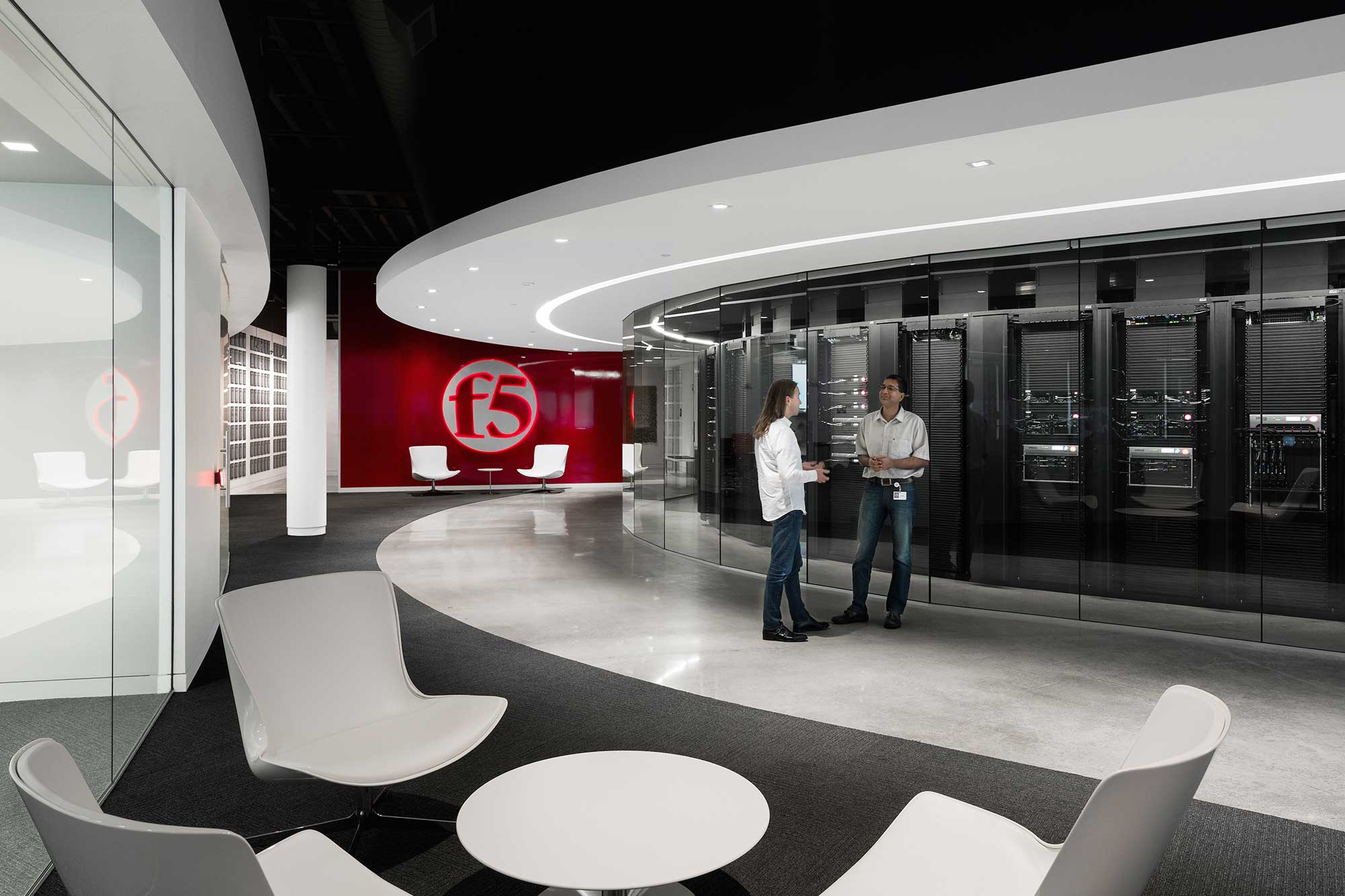 Two F5 Networks employees inside the Customer Service Center