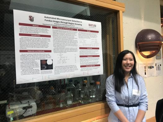 A cs student presents summer research at the Undergraduate Poster Session