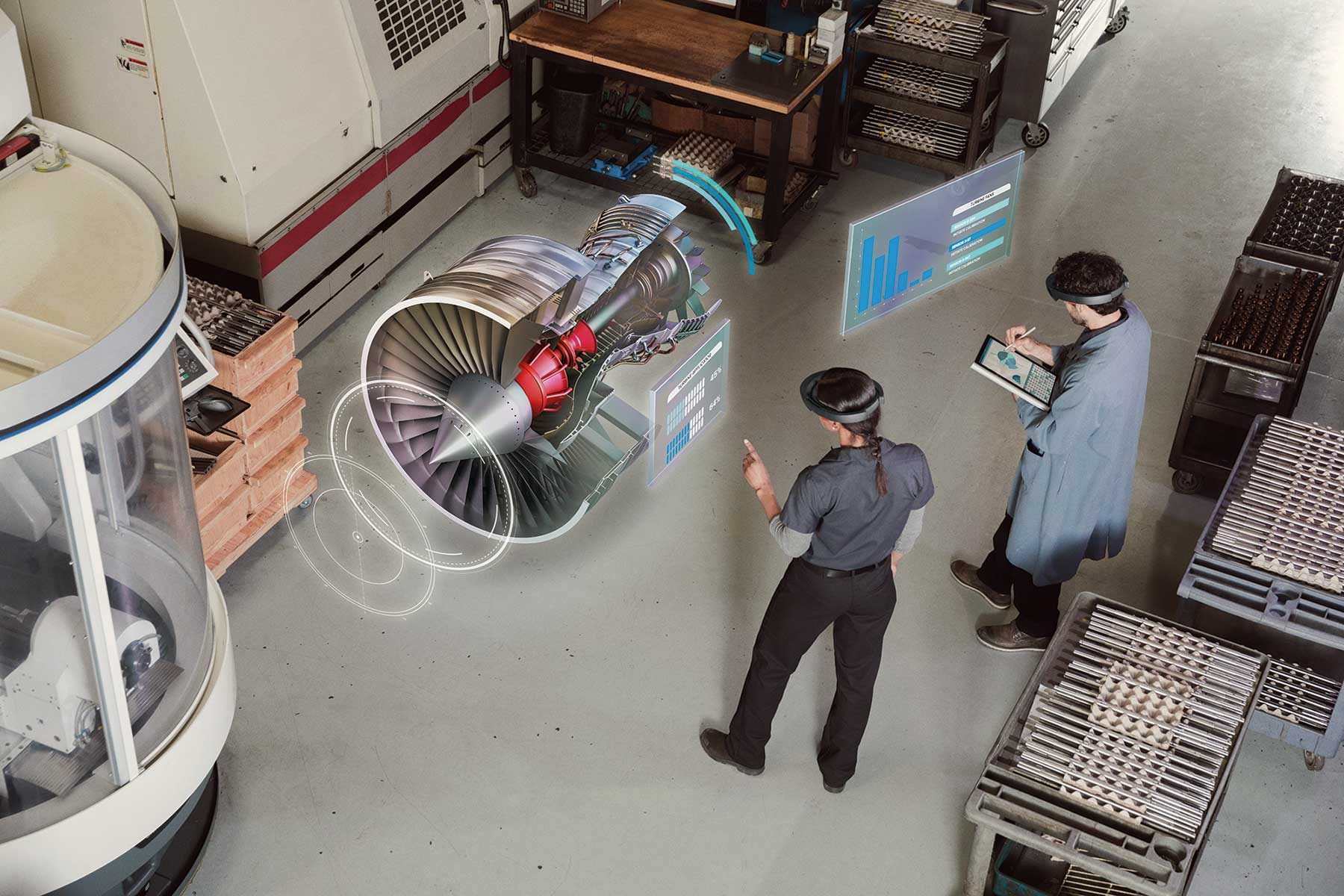 Engineers Using Microsoft HoloLens to Visualize a Jet Engine