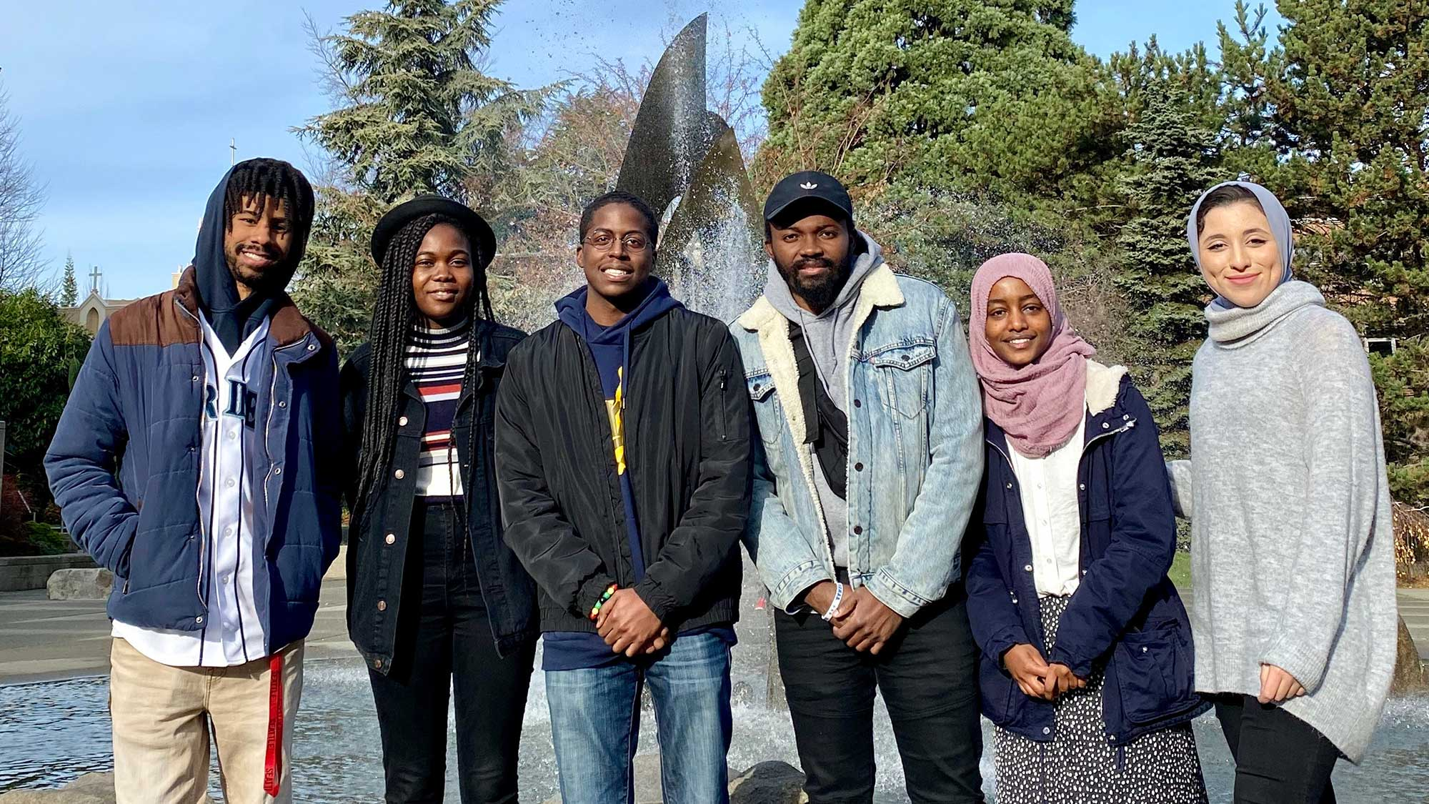 Students in the National Society of Black Engineers at the Quad Fountain