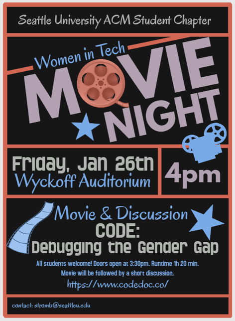 CODE movie screening poster put on by SU Women in Tech