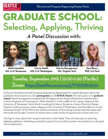 SU Alumni who are attending grad school will present and be on a panel about grad school