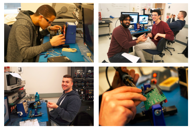 Collage of junior ece students working on their persistence of vision clock project