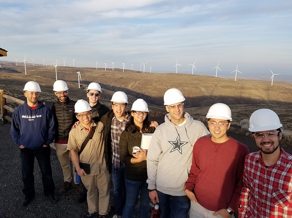 Seattle University Mechanical Engineering seniors on a fact-finding trip to the Wild Horse Wind & Solar Facility in Ellensburg, WA.