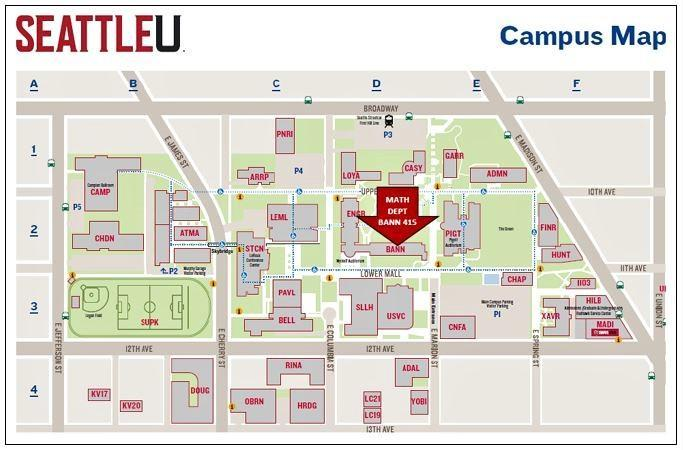 SU campus map showing the location of the Math Dept. office in Bannan 415