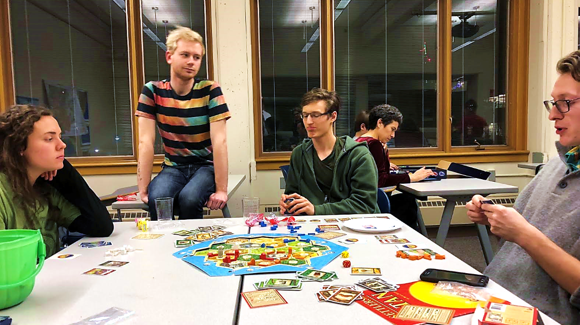 Math Dept. Game Night: Students playing board games