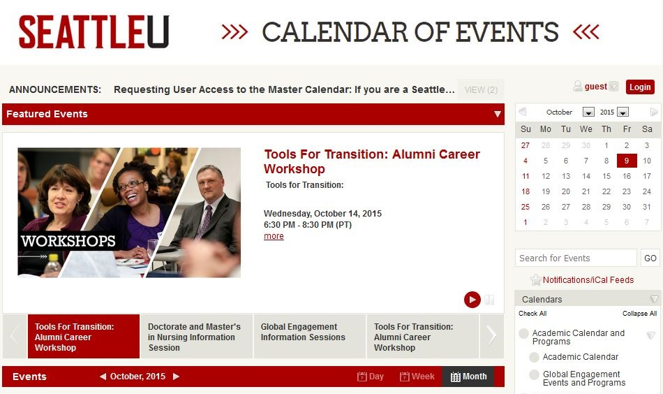 SU Master Calendar   Our Services   Conference and Event Services
