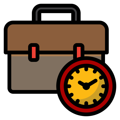 Icon of a briefcase and clock