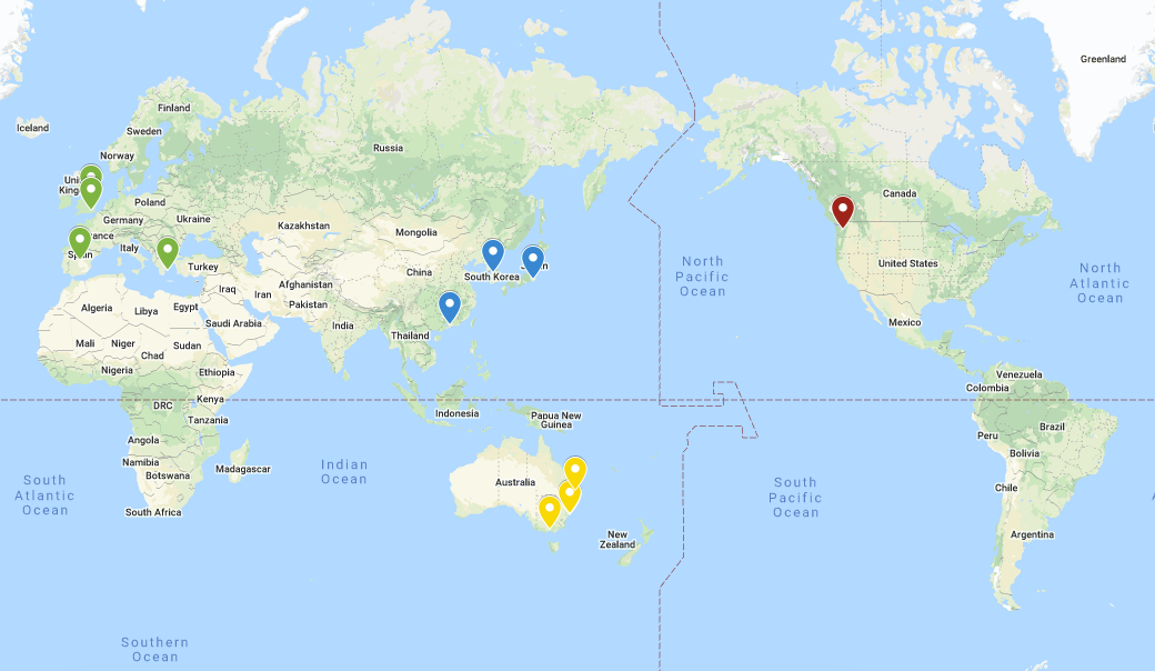Map locations of Reciprocal Exchange Partners 20-21