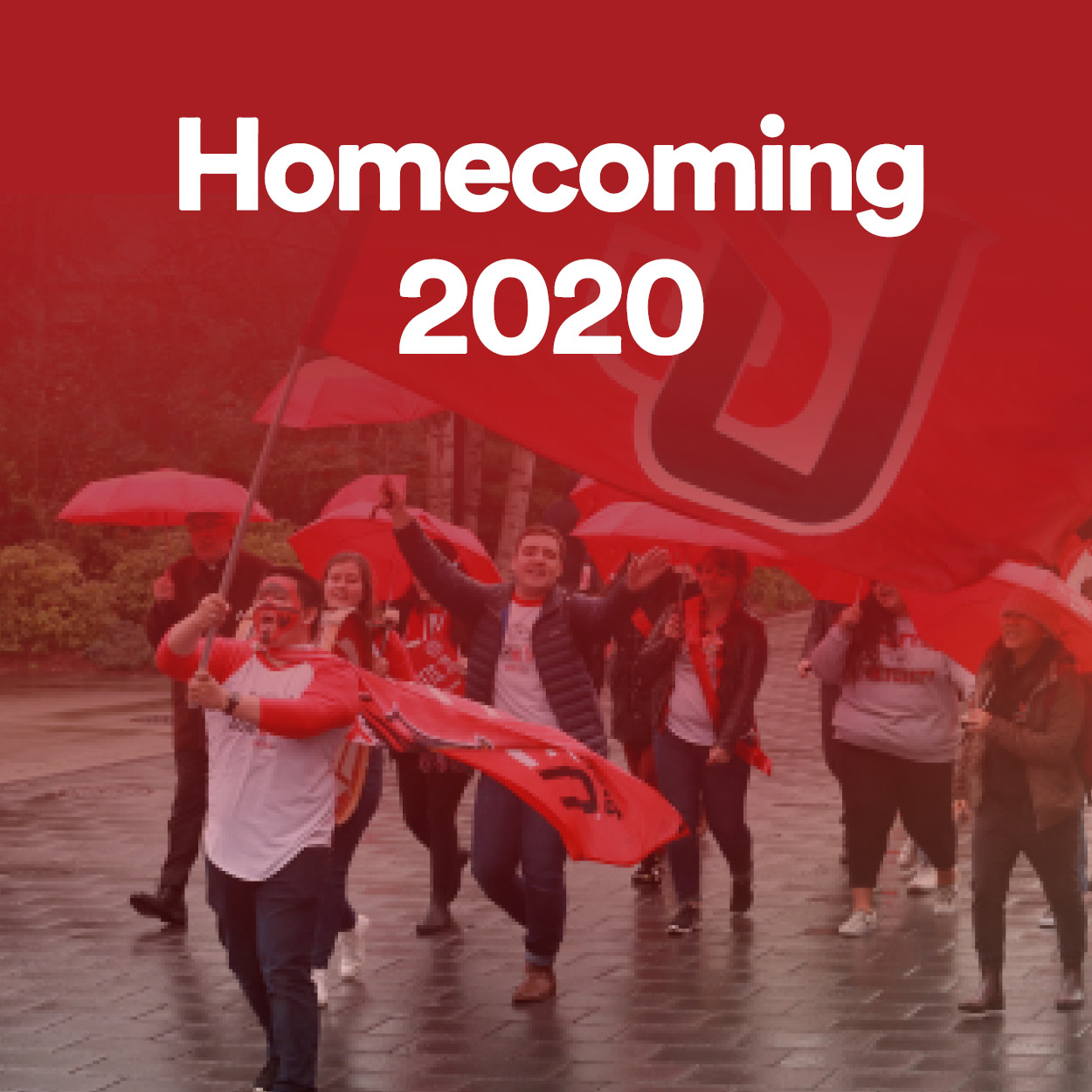 An image that says Homecoming 2020 with a photo of the red umbrella parade on campus