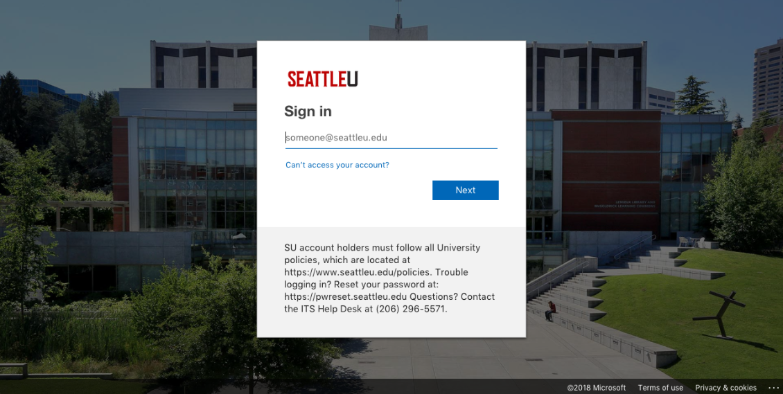 screenshot of the new SeattleU Office 365 Portal with an image of Lemieux Library