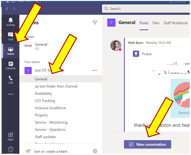 The process of how to send a message in Microsoft Teams