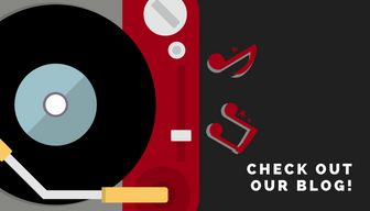 Graphic of a record player. Check out our blog!