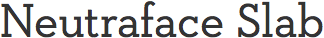 the words Neutraface Slab displayed in Neutraface Slab font