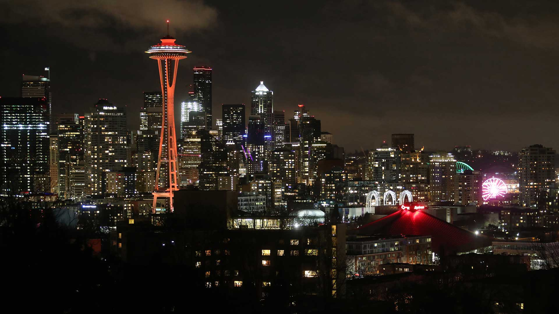 Seattle Skyline at Night with Red Space Needle