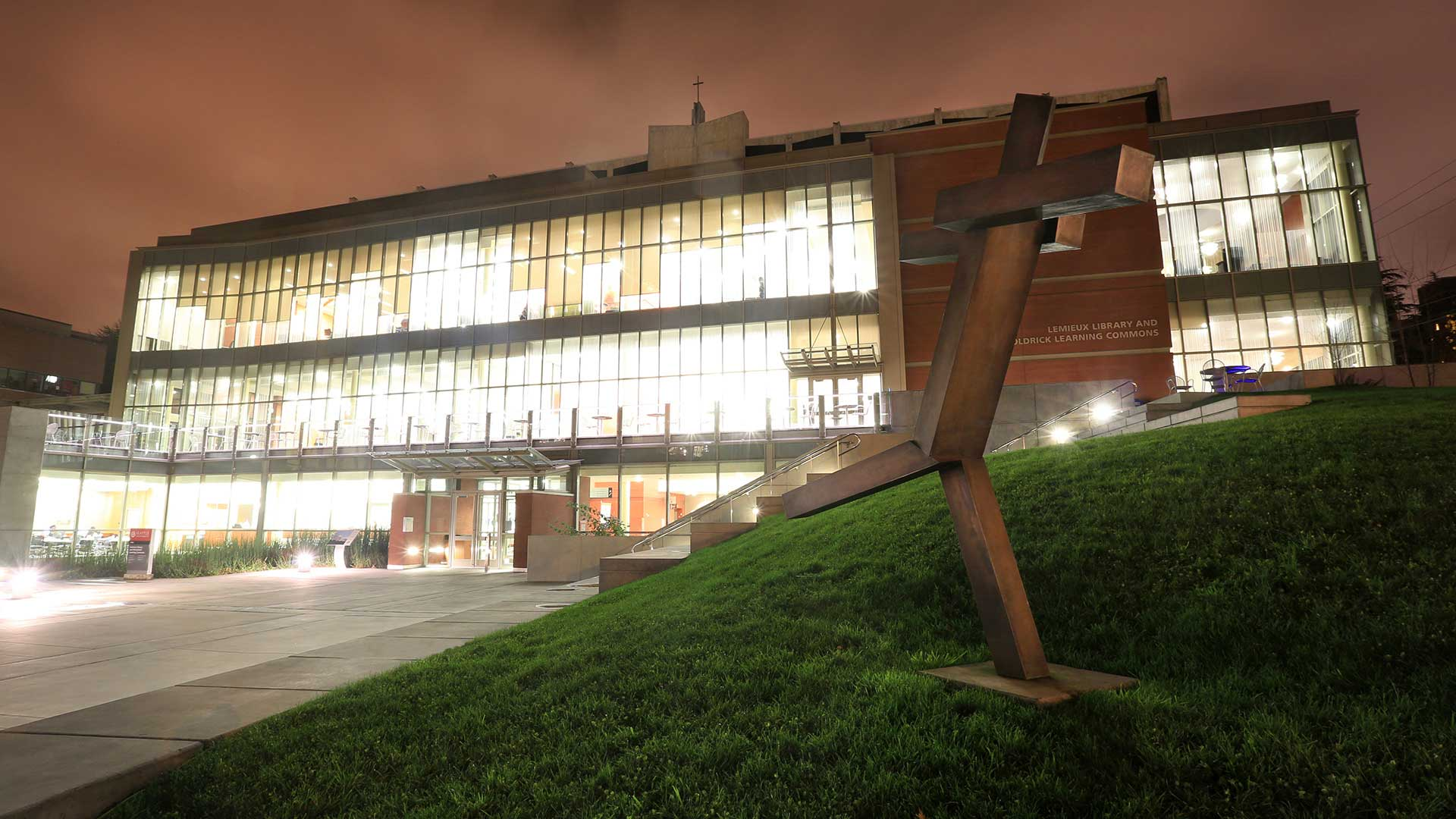 Lemieux Library and McGoldrick Learning Commons - Exterior at Night