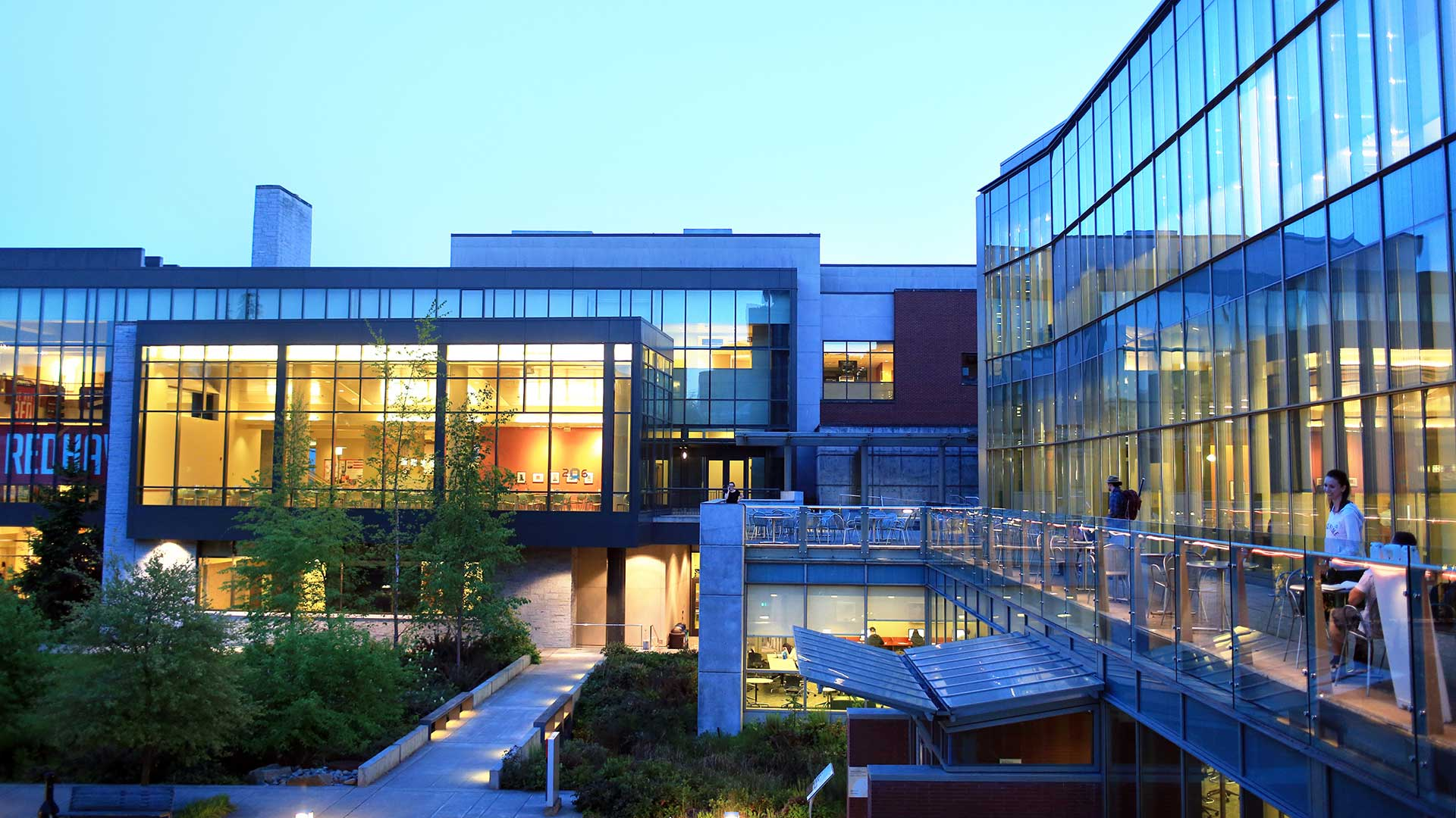 Student Center and Library Exterior at Dusk
