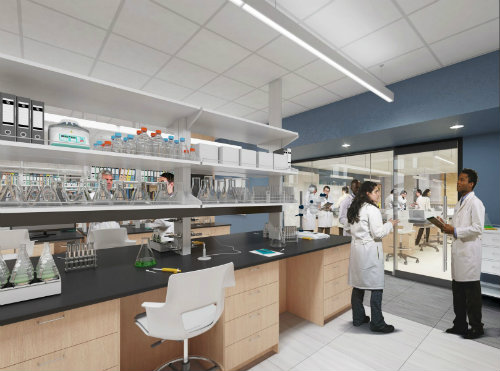 Artists rendering of a STEM Lab in the new Center for Science and Innovation