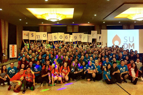 attendees at the 2016 Dance Marathon holding up signs showing that a total of $110,506.99 was raised