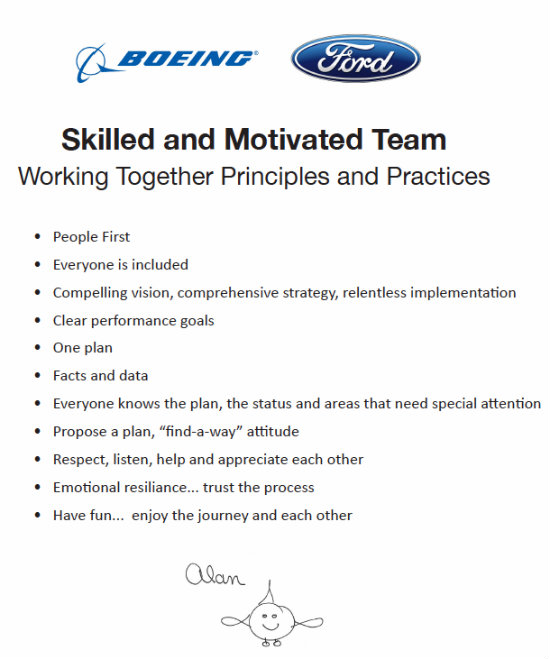 Alan Mulally's 'Working Together Principles and Practices'