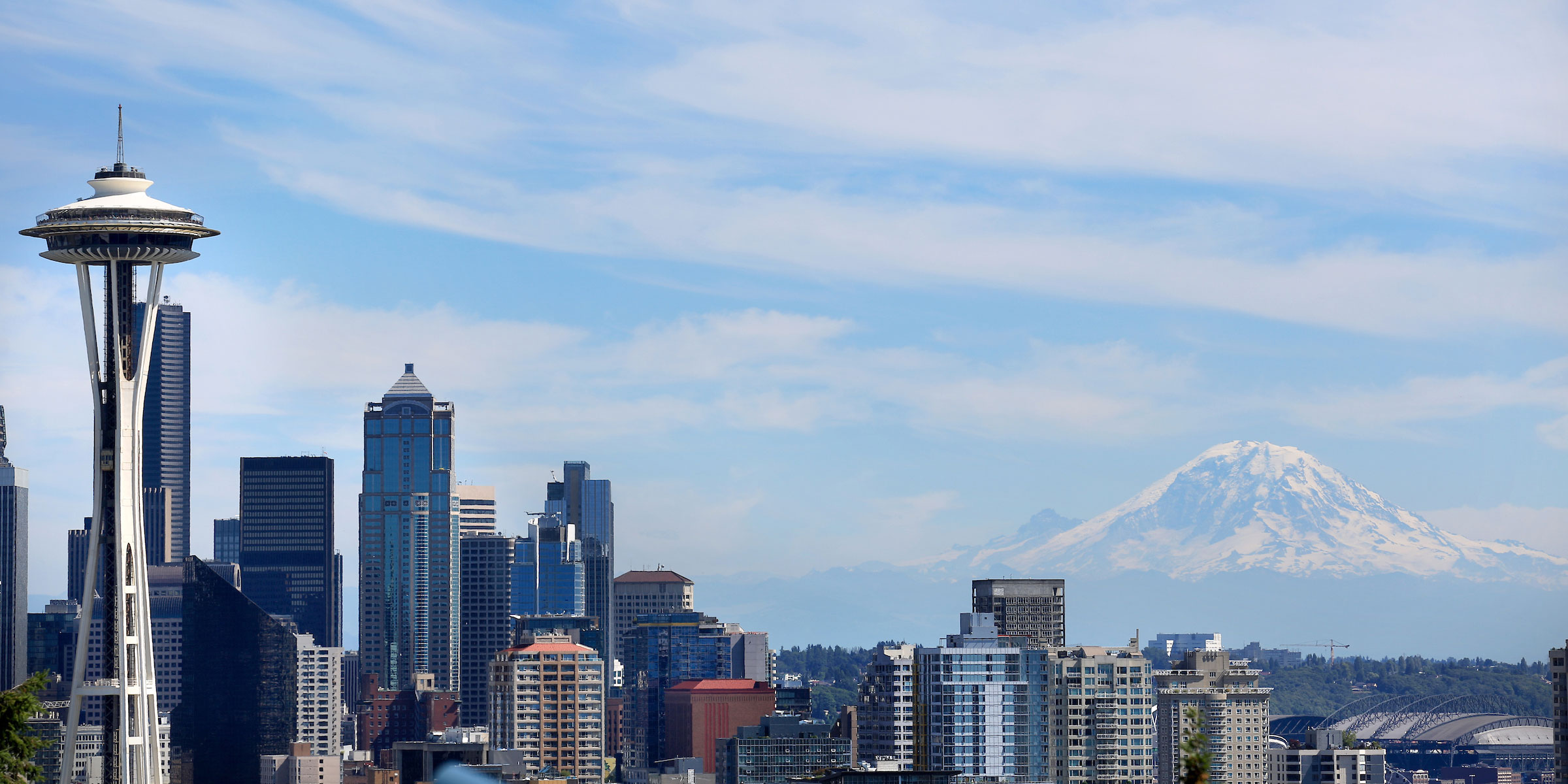 downtown Seattle skyline with space needle and Mt. Rainier shot from Kerry Park