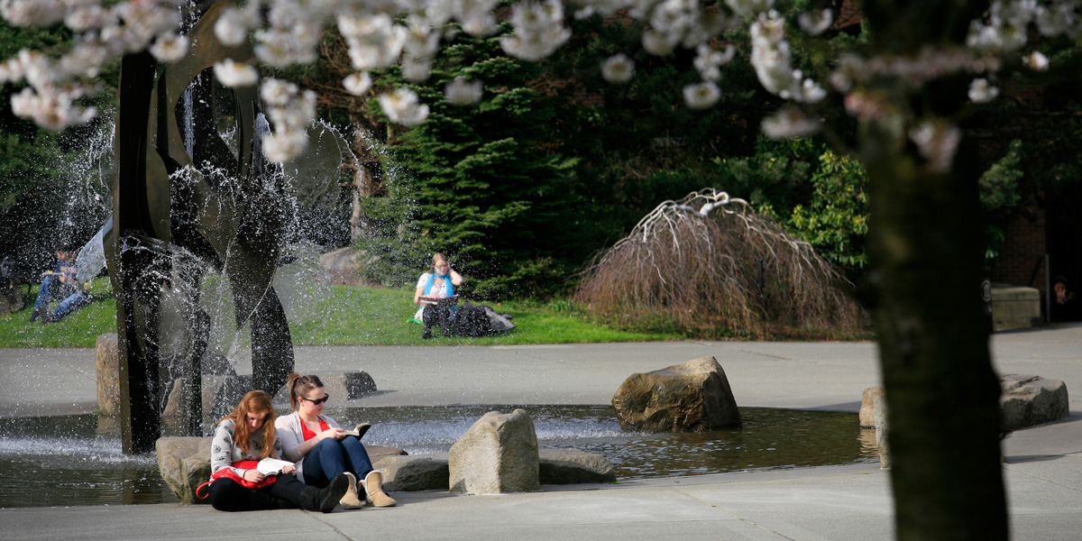 students reading at the fountain in the Quad