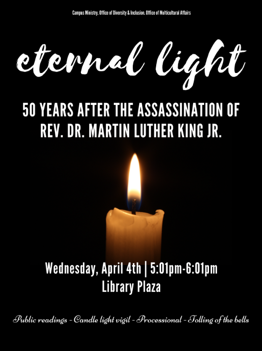 Burning candle light with white words explaining Martin Luther King Jr. Remembrance Event