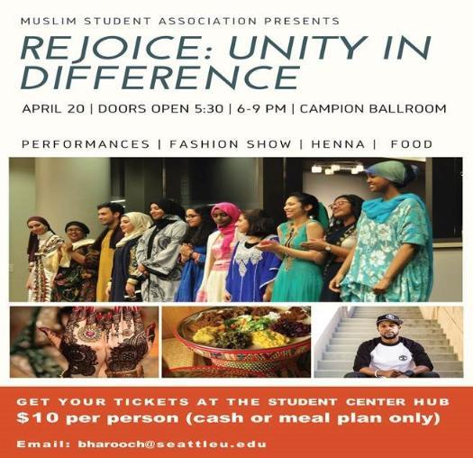 Rejoice: Unity in Difference picture with multicultural images. Event will take place on April 20th from 6pm-9pm in Campion Ballroom. Tickets are $10 and can be purchased at the Student Center HUB,