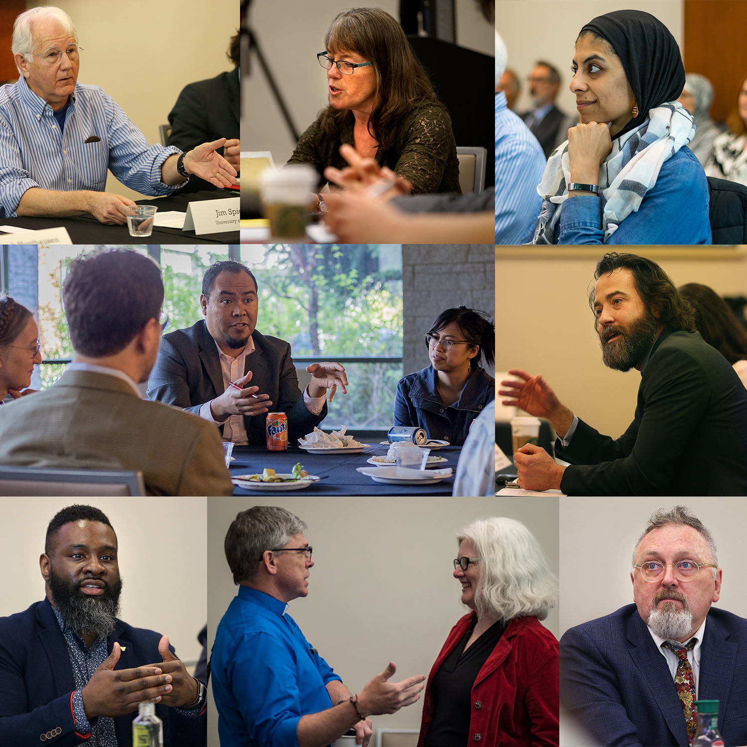 Center for Religious Wisdom & World Affairs 2018 Symposium on Homelessness (Clockwise from top left) - Jim Spickard, Laura Stivers, Nancy Khalil, Manuel Mejido, Richard Morrison, Maggie Breen, Kelley Dahlman-Oeth, Michael Fisher, Jr., Roberto Mata