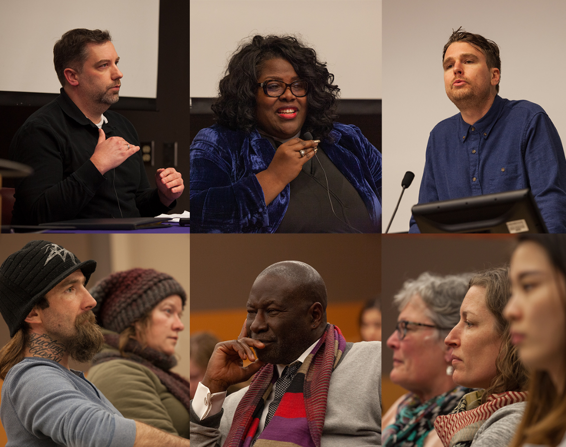 Wounds of Love photos collage, clockwise: panelist Ben Curtis of Operation Nightwatch, Kelle Brown of Plymouth Congregational Church, CRWWA scholar Paul Blankenship, audience members, Ed Reed (retired Seattle University faculty), and audience members