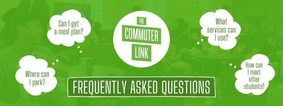 Banner of commuter link FAQ. Green background overlaying an image of students in the space. Contains the Commuter Link logo and text that says