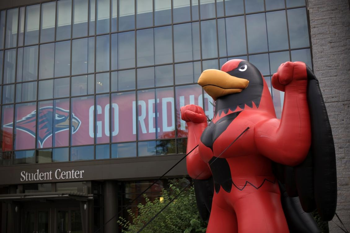 Redhawk in front of Student Center